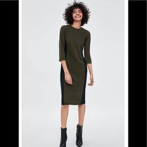 Zara Color Block Dress - Hunter Green/ Black